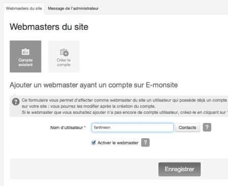 Ajouter un compte webmaster