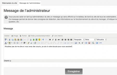Publier un message à destination des webmasters du site