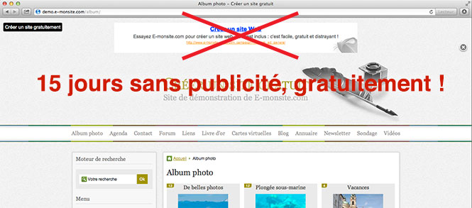 Cr&eacute;er un site sans pub sur e-monsite.com