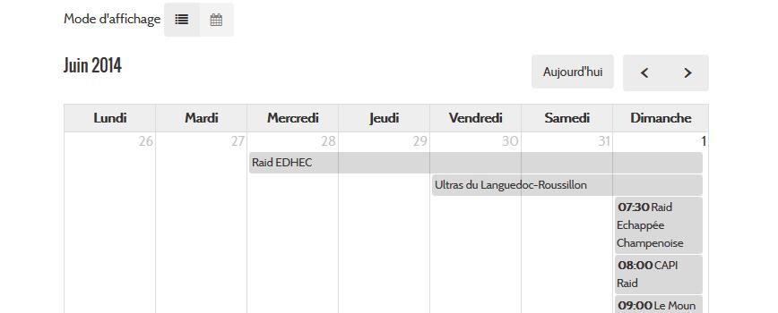 Affichage des évènements en mode calendrier