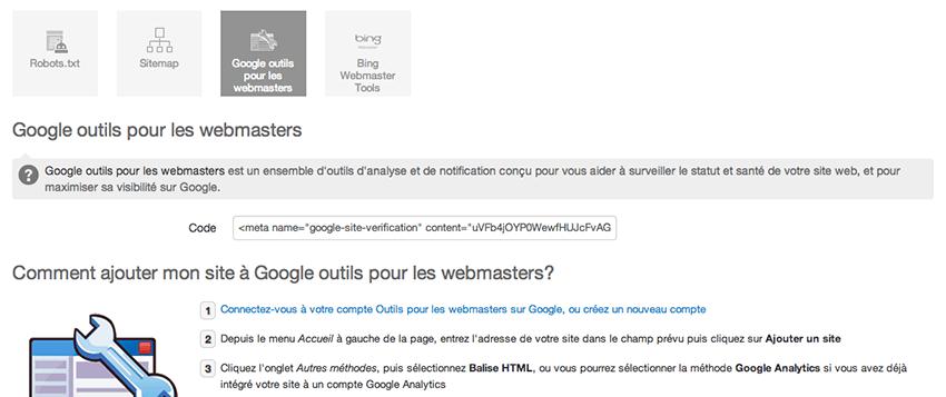 configurer google webmaster tools