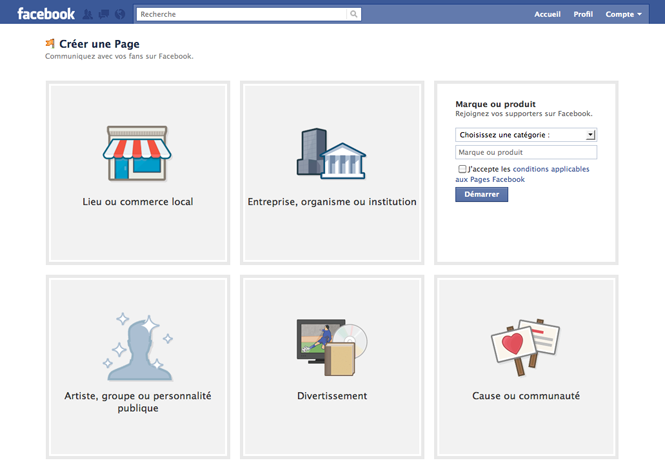 Première étape pour la création d'une page facebook