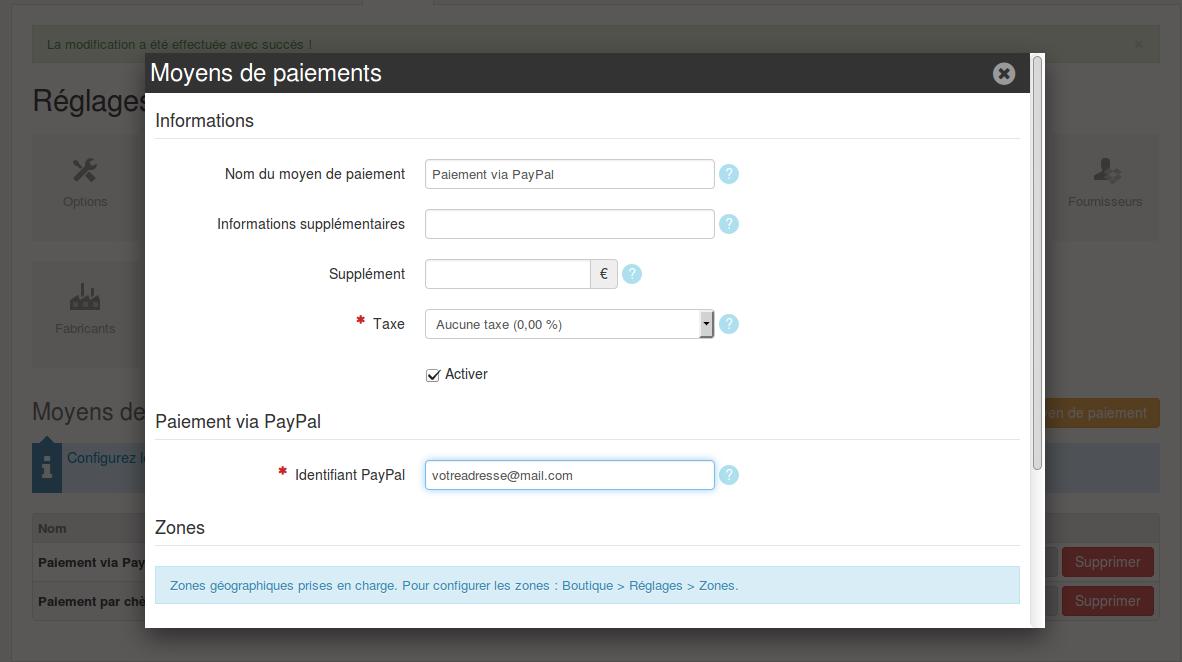 configurer paypal comme moyen de paiement dans votre boutique en ligne. Black Bedroom Furniture Sets. Home Design Ideas