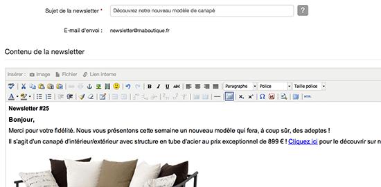 Outil de création de newsletter