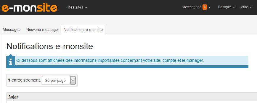Notification e-monsite