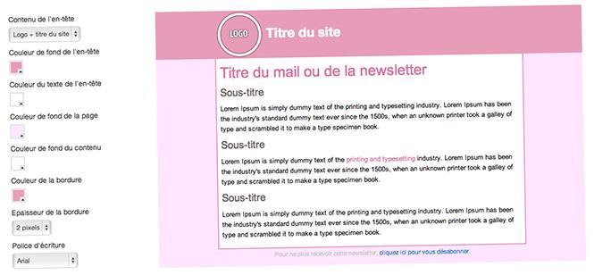 Personnalisation du template de mail responsive