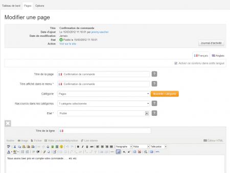 Créer la page de confirmation de commande