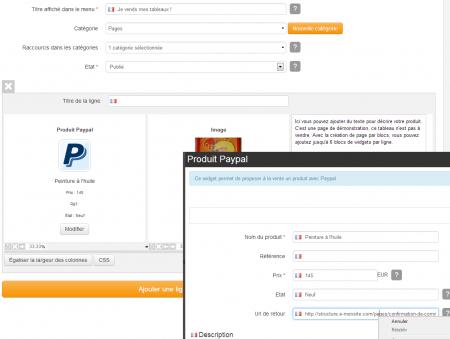 Exemple d'intégration du widget paypal sur une ligne