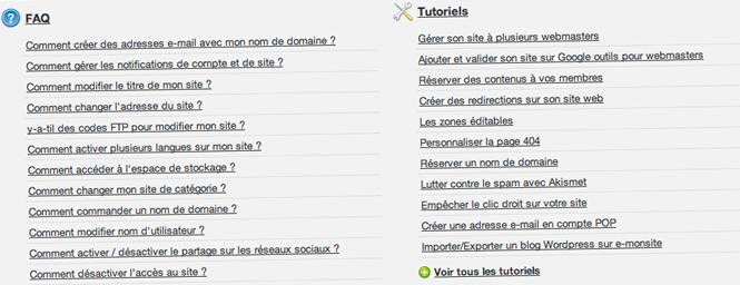 Tutoriels webmaster dans l'administration du site