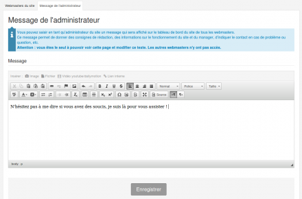 Envoyer un message aux webmasters