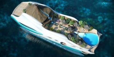 Un yacht en forme d'île tropicale flottante