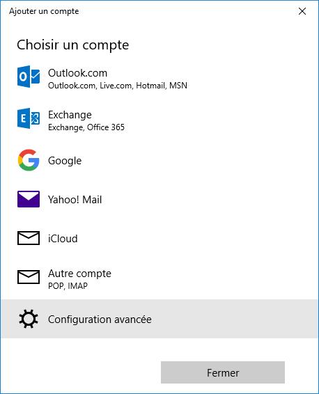 configurer compte free courrier windows 10
