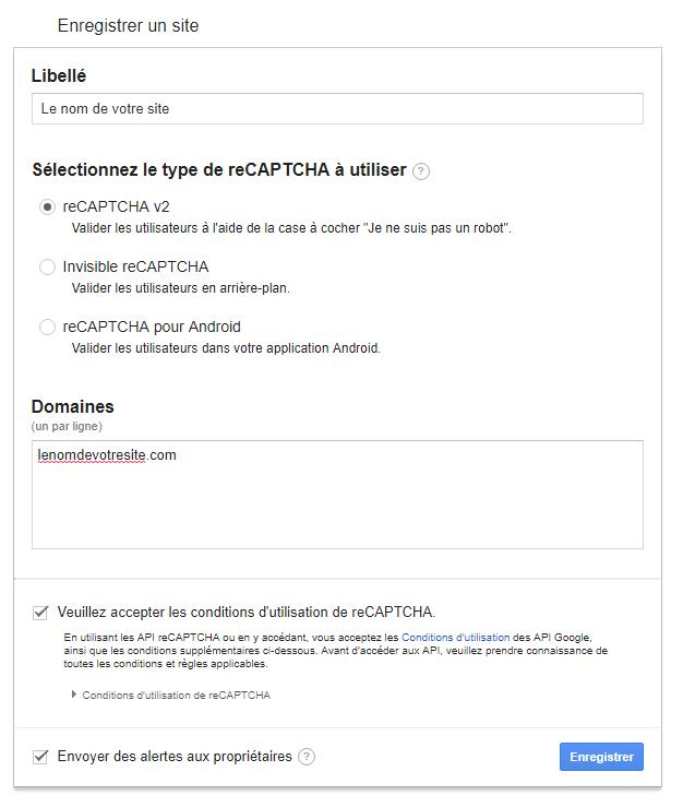 Configuration reCAPTCHA