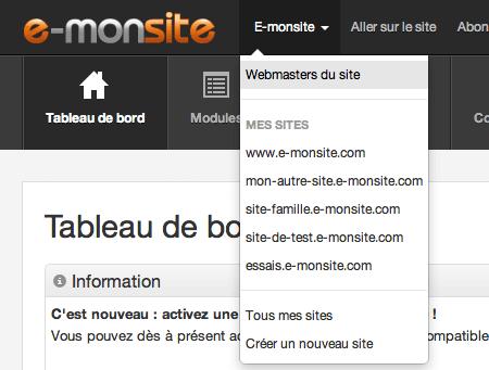 Accéder au menu de gestion des webmasters