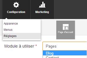 Activer le blog sur la page d'accueil
