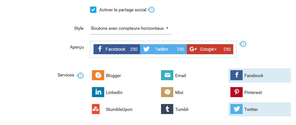 Activer partage social 1