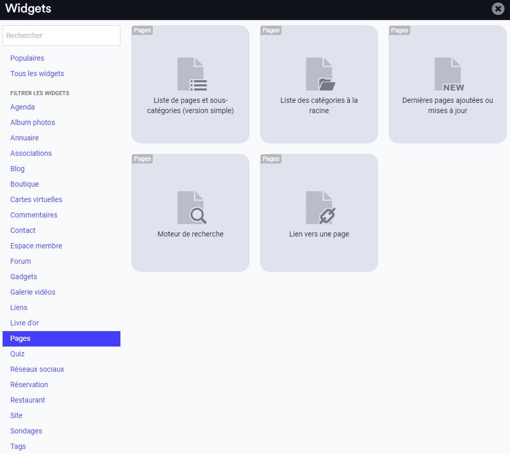 Ajouter un widget dans le menu vertical de son site