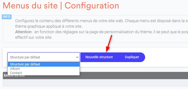 Ajouter une nouvelle structure de menus sur son site web