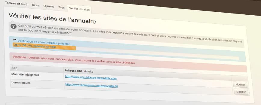 Annuaire verification des sites progess