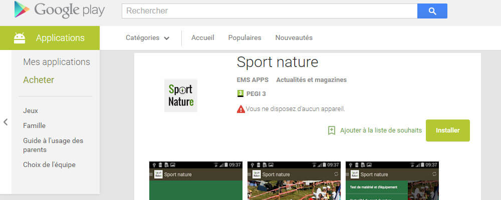 Application Blog sportnature