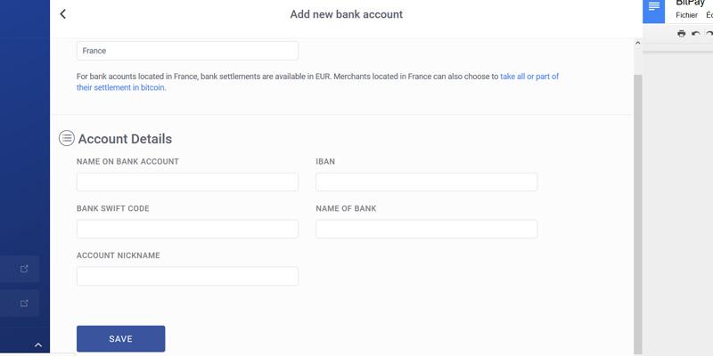 Bitpay ajout compte bancaire
