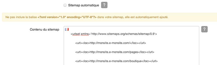 Modifier le sitemap du site
