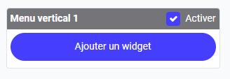 Bouton d'ajout de widget dans le menu vertical