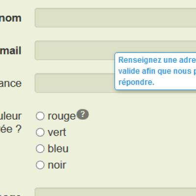 Bulles d'aide dans un formulaire de contact