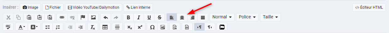 Centrer un texte ou une image avec l outil de l editeur visuel