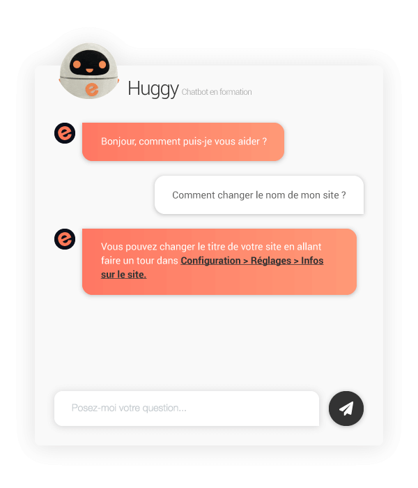 Huggy, chatbot du support e-monsite