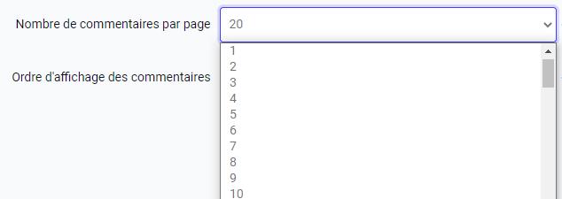 Choisir le nombre de commentaires à afficher par page