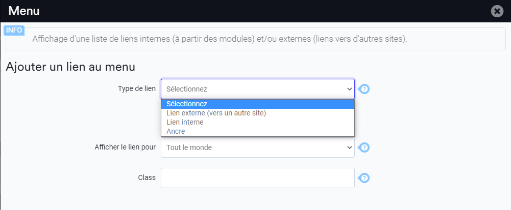 Choisir le type de lien a ajouter dans le menu horizontal
