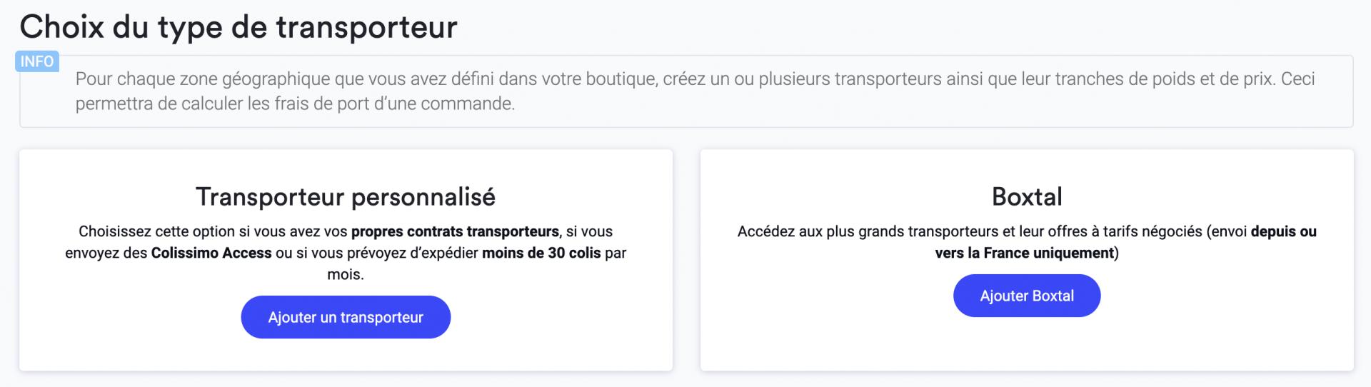 Choix transporteur 2