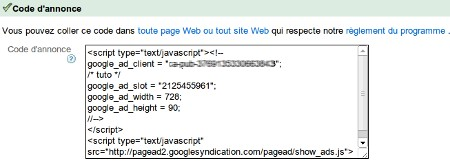 Code adsense pub e-monsite rentabiliser site