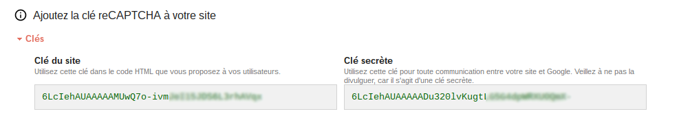 Configuration reCAPTCHA clés