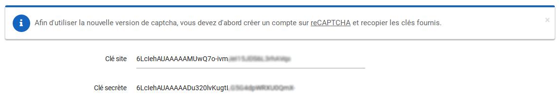 Configuration reCAPTCHA manager