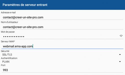 Configuration serveur entrant