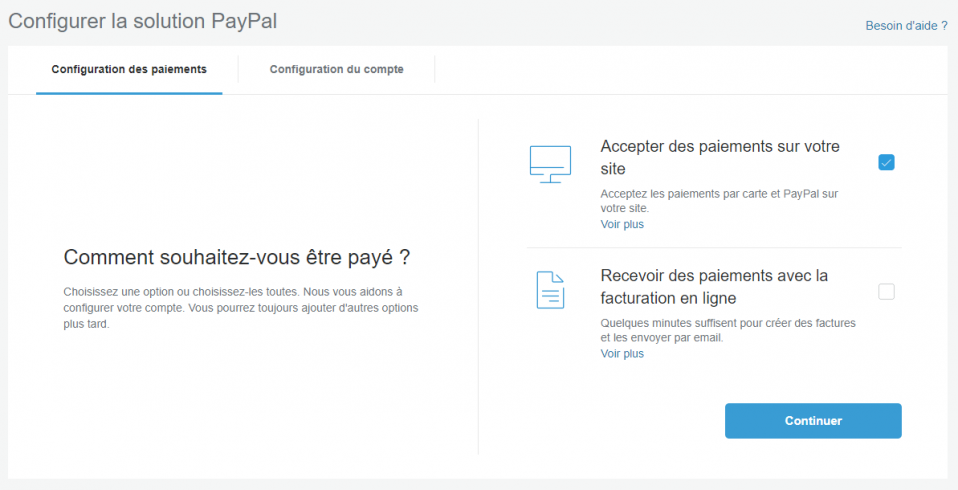 Configurer la solution paypal