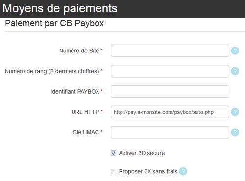 Configurer paybox