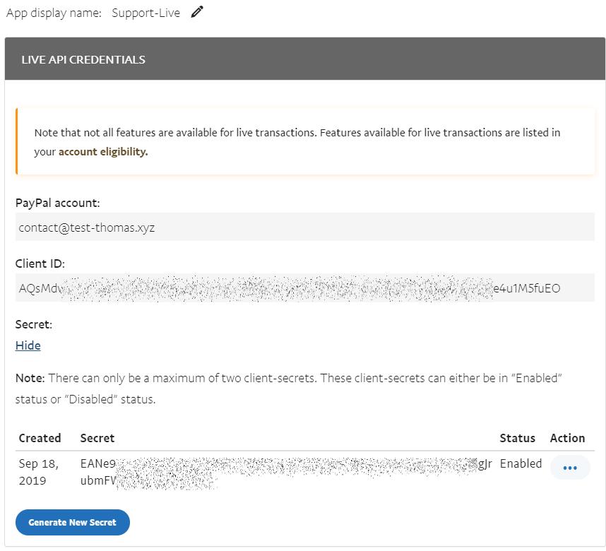 Copier les clés API PayPal SDK - Mode live