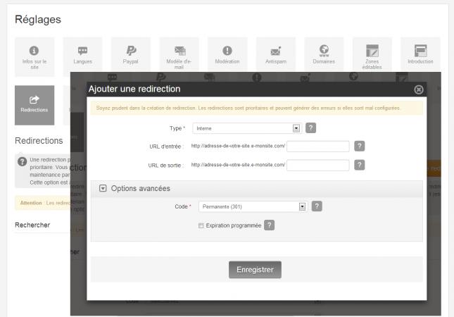 Créer une redirection dans Configuration > Réglages