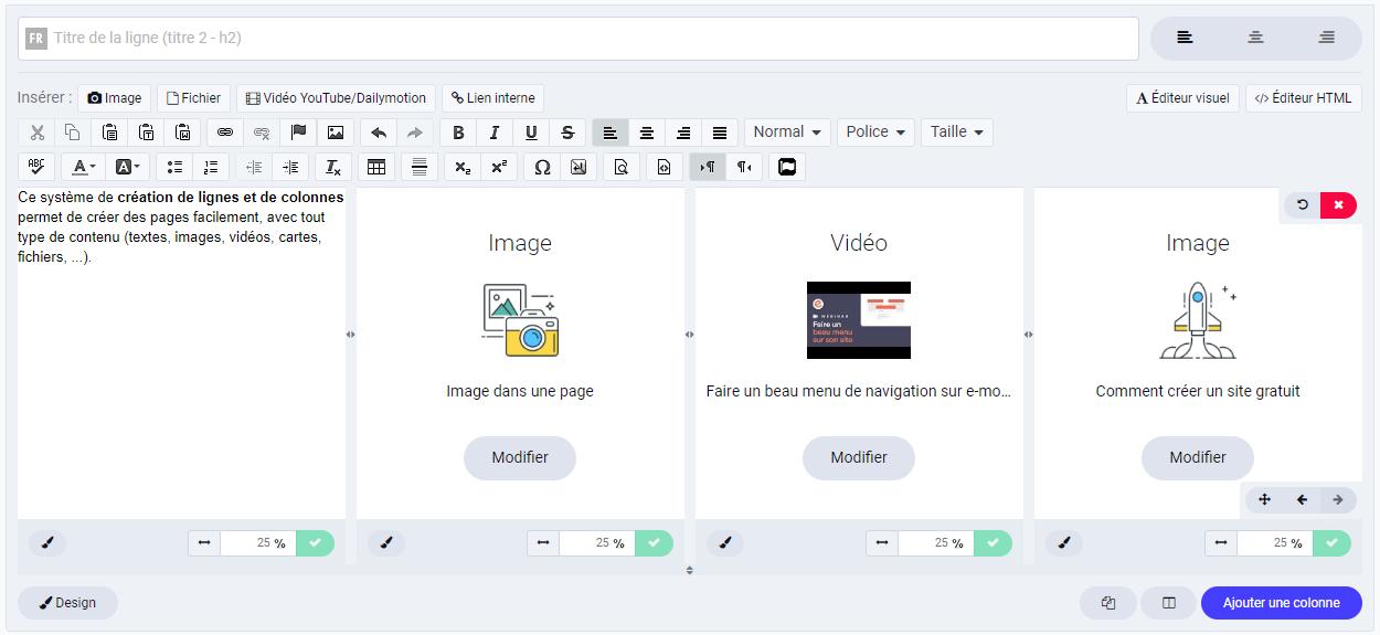 Créer une page avec des lignes et des colonnes