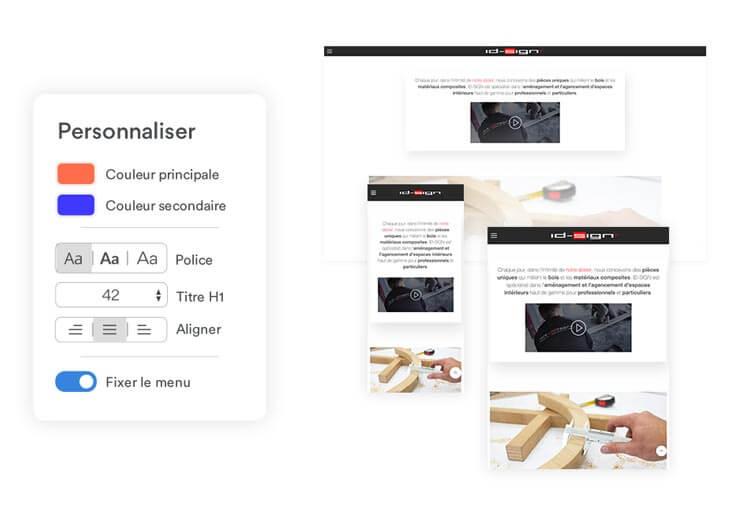 exemple de thème personnalisable et responsive sur e-monsite