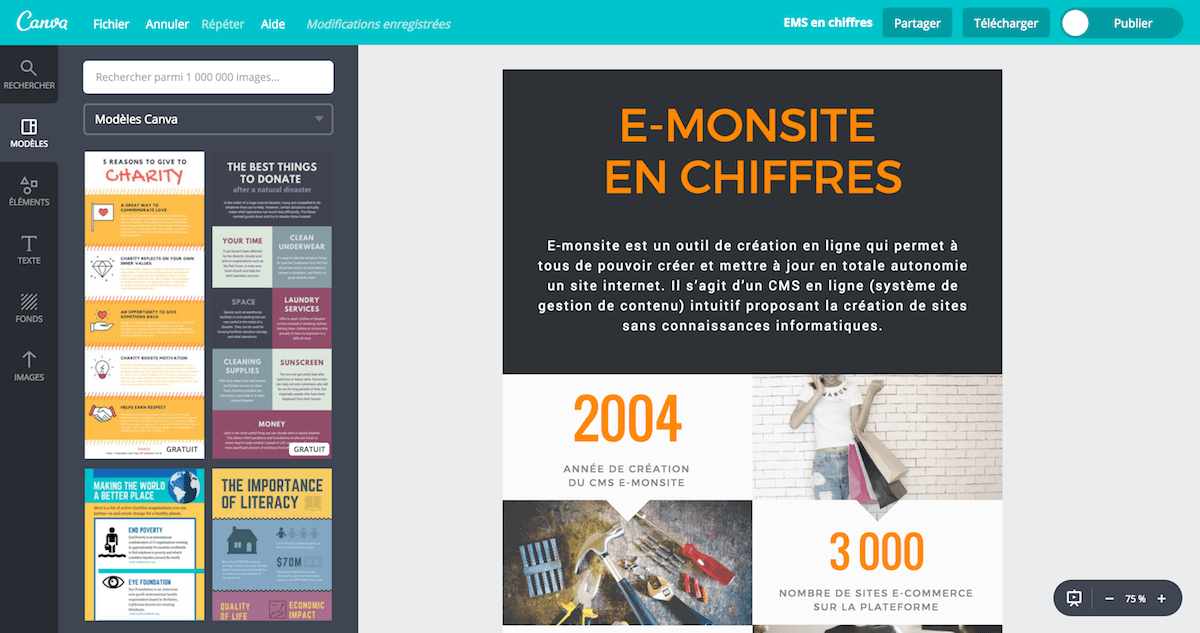 Interface de création de Canva