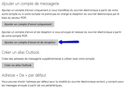 Ajouter un compte d'envoi et de réception sur Outlook