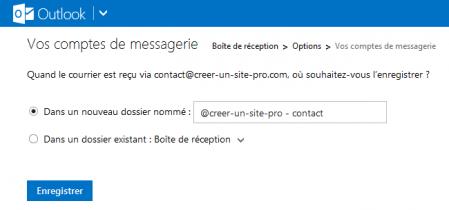Configurer le dossier de réception de ce compte POP sur Outlook