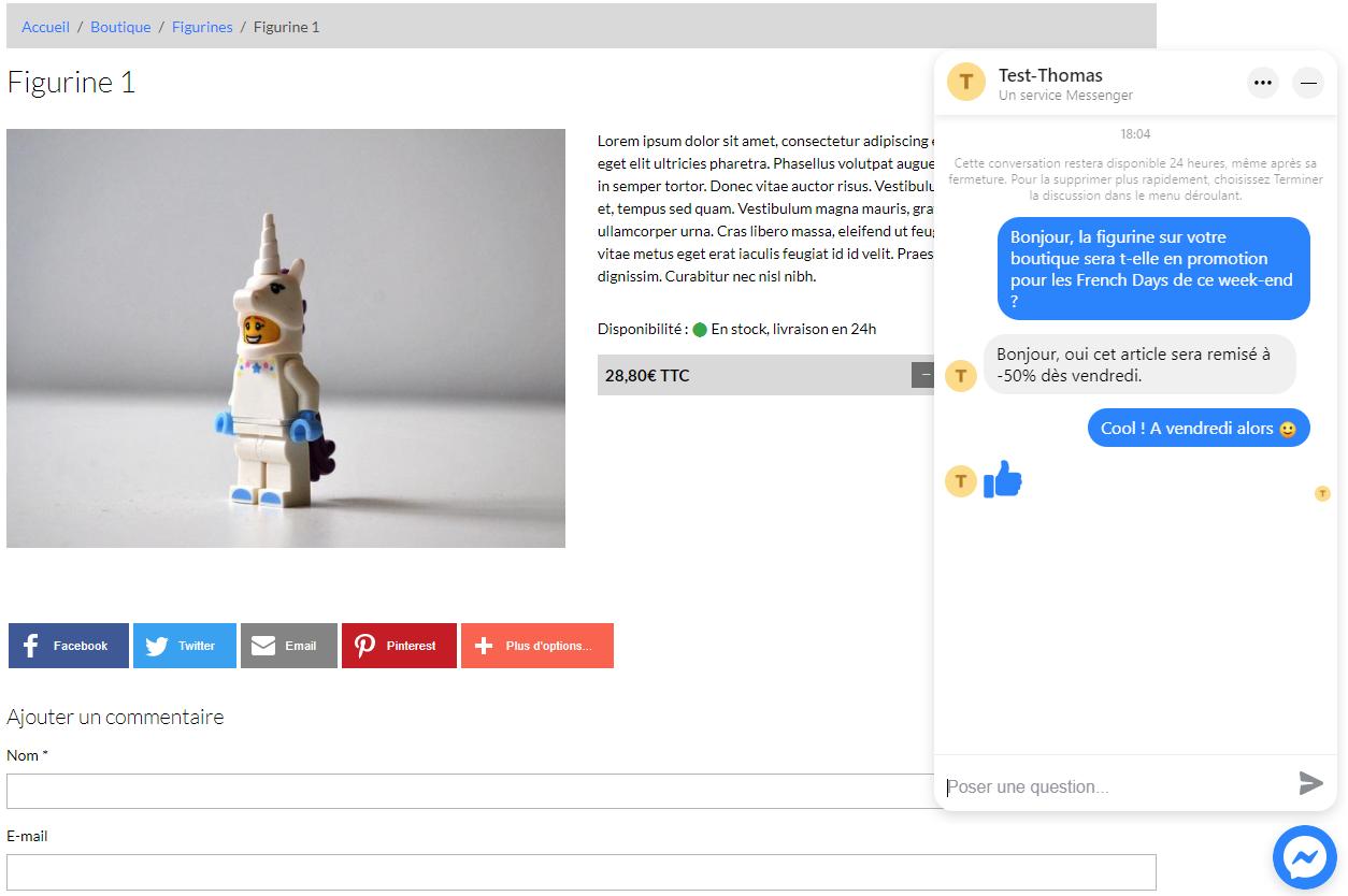 Exemple de chat messenger sur une page boutique