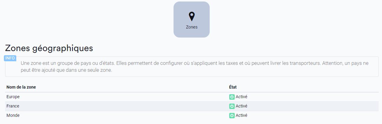 Exemple de zones pour la boutique en ligne
