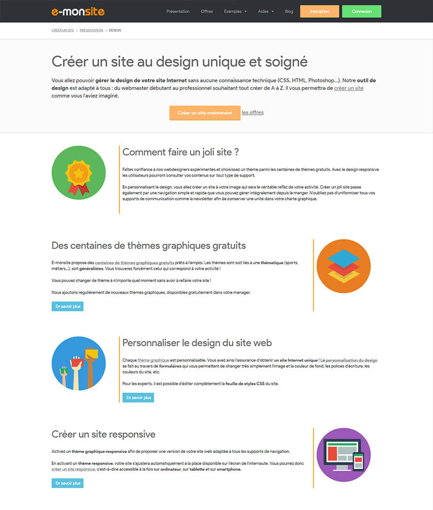 Exemple landing page e monsite