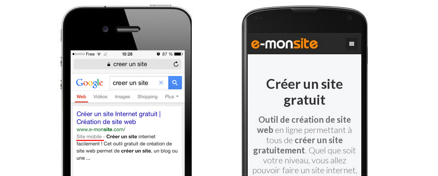Exemple site friendly mobile